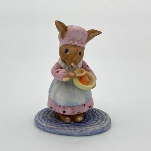 Vintage Ceramic Bunny with Bowl and Spoon on Rub